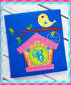 monogram birdhouse embroidery applique design