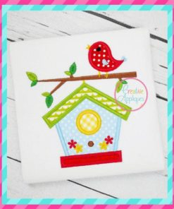 birdhouse embroidery applique design